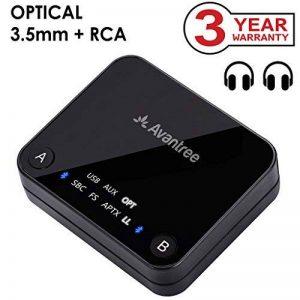 Avantree Audikast Transmetteur Bluetooth 4.2, Support entrée Optique TOSLINK, RCA, aptX Low Latency vers 2 casques, Emetteur Adaptateur audio sans fil 3.5 mm pour TV, Indicateurs LED de la marque Avantree image 0 produit