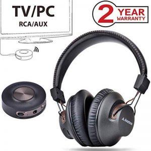 Avantree HT3189 Casque TV sans Fil avec émetteur Bluetooth, 3.5mm & RCA (Pas Optique) Audio USB sur PC Supporté, Pré-appairé, Plug and Play, Faible Latence, Longue portée, Autonomie 40 Heures de la marque Avantree image 0 produit