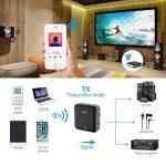 Bluetooth 5.0 émetteur/récepteur, Bluetooth sans fil Bluetooth adaptateur audio 3,5 mm (aptX faible latence, aptX HD Paire 2 sur une fois) aux & RCA & optique numérique Toslink/SPDIF, 24 heures Temps de jeu, Transceiver pour PC, casque, haut-parleur, syst image 4 produit
