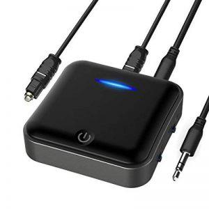 Bluetooth 5.0 émetteur/récepteur, Bluetooth sans fil Bluetooth adaptateur audio 3,5 mm (aptX faible latence, aptX HD Paire 2 sur une fois) aux & RCA & optique numérique Toslink/SPDIF, 24 heures Temps de jeu, Transceiver pour PC, casque, haut-parleur, syst image 0 produit