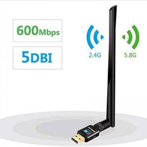 Clé Wifi Dongle Adaptateur USB sans fil 5dBi Double Bande 600Mbps (2.4G / 150Mbps + 5G / 433Mbps) Compatible avec Windows XP / VISTA / 7 / 8 / 8.1 / 10 Linux Mac OS de la marque Moglor image 0 produit