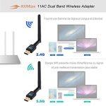 Dongle Wifi Adaptateur USB Wireless 4G Sans Fil 600Mbps - Deepow Wlan Stick USB Antenne Double Bande (2.4G/150Mbps+5G/433Mbps) 802.11n/g/b/a/ac avec WPS Secure Tech Pour Windows 10/8.1/8/7/XP/Vista MAC OS de la marque DEEPOW image 1 produit