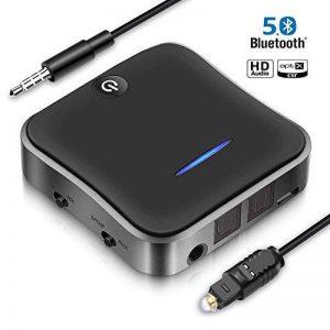 Emetteur et Recepteur Bluetooth 5.0, SONRU Adaptateur Audio Bluetooth, Optique Digital TOSLINK et Adaptateur Audio Sans Fil 3.5mm, aptX HD aptX LL, Double Appairage, Adaptateur RCA, Bluetooth Transmetteur pour Système Home TV Stéréo Ordinateur Portable de image 0 produit