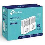 TP-Link CPL AV1000 (Débit 1000 Mbps), 1 Port Ethernet Gigabit, Prise Intégrée Version Européenne, Pack de 2 CPL (TL-PA7010P KIT) Blanc de la marque TP-Link image 1 produit